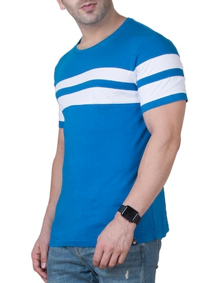 blue cotton cut & sew t-shirt - 15620673 - Standard Image - 2