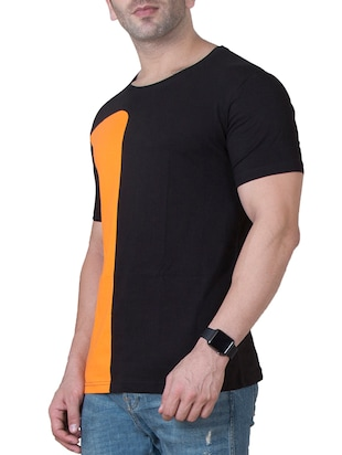 black cotton color block t-shirt - 15620676 - Standard Image - 2