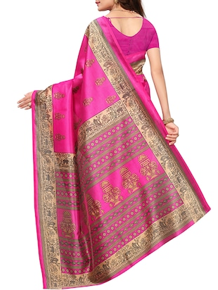 conversational printed saree with blouse - 15620768 - Standard Image - 2
