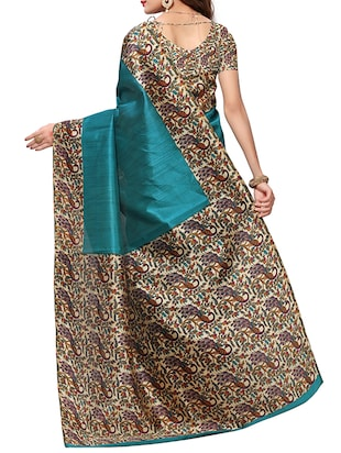 kalamkari printed border saree with blouse - 15620773 - Standard Image - 2