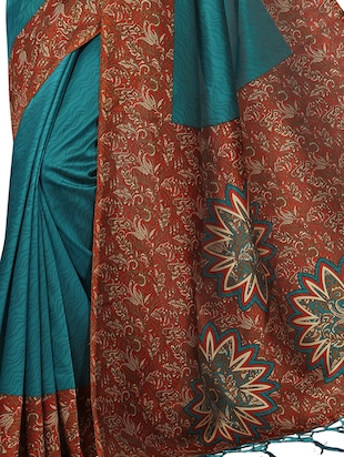 kalamkari printed border saree with blouse - 15620782 - Standard Image - 2