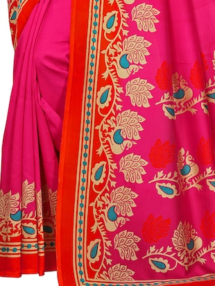 conversational printed saree with blouse - 15620790 - Standard Image - 2