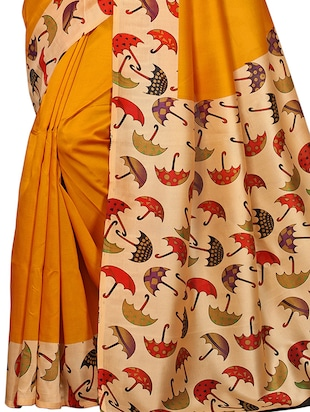 conversational printed border saree with blouse - 15620800 - Standard Image - 2
