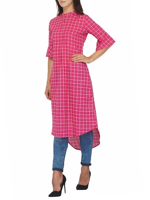 Checkered high-low kurta - 15620851 - Standard Image - 2