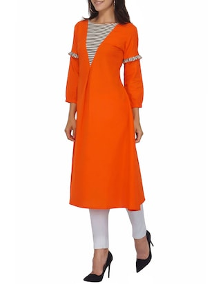 Orange a-line stripes yoke kurta - 15620859 - Standard Image - 2