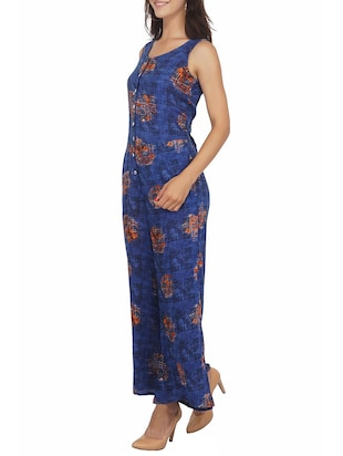 button detail full length jumpsuit - 15620866 - Standard Image - 2