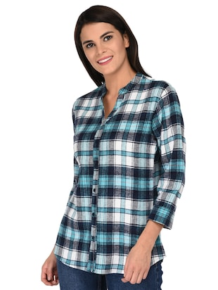 mandarin neck checkered shirt - 15621198 - Standard Image - 2