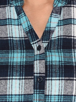 mandarin neck checkered shirt - 15621198 - Standard Image - 5