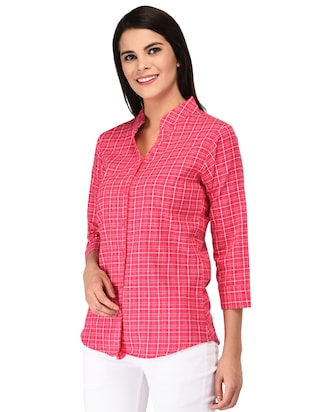 mandarin neck checkered shirt - 15621202 - Standard Image - 2