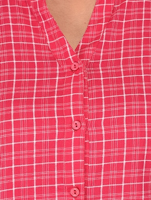 mandarin neck checkered shirt - 15621202 - Standard Image - 5