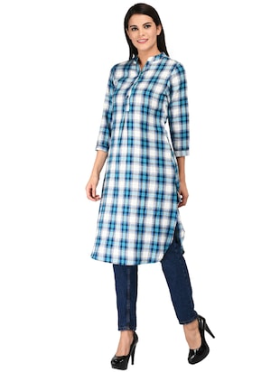 button detail glen plaid tunic - 15621206 - Standard Image - 2