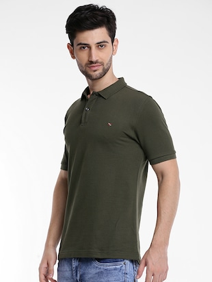 olive green cotton polo t-shirt - 15621452 - Standard Image - 2