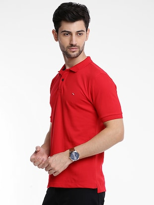 red cotton polo t-shirt - 15621455 - Standard Image - 2