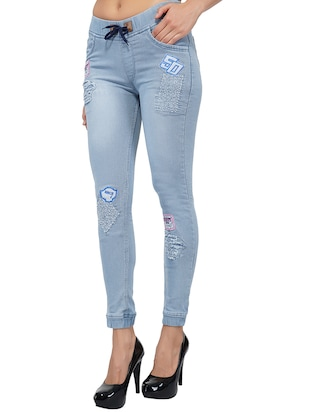 drawstring waist graphic patch distress jeans - 15621485 - Standard Image - 2
