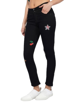 mid rise graphic patch jeans - 15621501 - Standard Image - 2