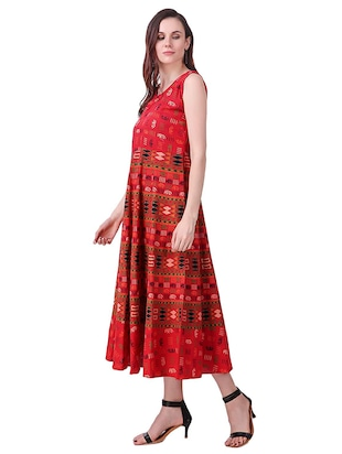 Printed a-line dress - 15621604 - Standard Image - 2