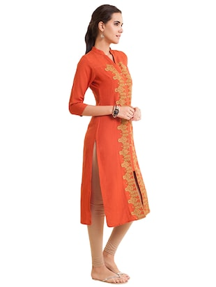 Embroidered straight kurta - 15621834 - Standard Image - 2