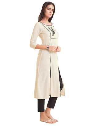 Double slit piping solid kurta - 15621849 - Standard Image - 2