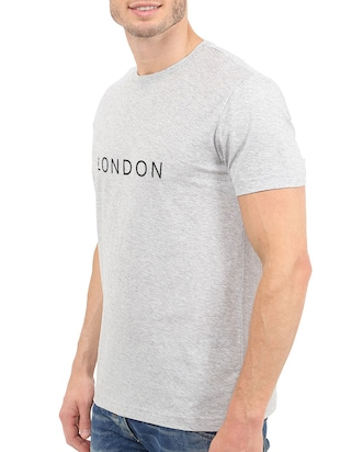 grey cotton chest print tshirt - 15621920 - Standard Image - 2