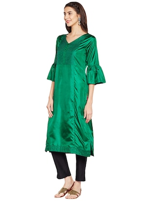 Bell sleeves art silk straight kurta - 15622393 - Standard Image - 2
