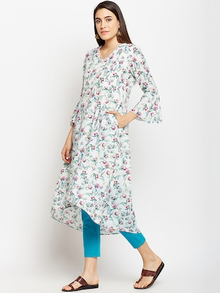 High low bell sleeves kurta with pocket - 15622418 - Standard Image - 2