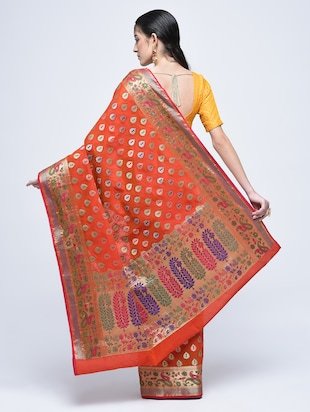 paisley zari border banarasi saree with blouse - 15622876 - Standard Image - 2