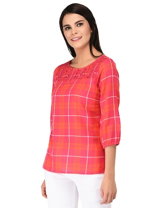 embroidered neck button detail checkered top - 15623564 - Standard Image - 2