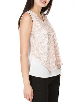 sequined mesh overlay top - 15623868 - Standard Image - 2