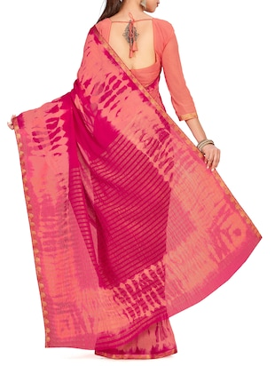 striped pallu tie & dye saree with blouse - 15625599 - Standard Image - 2