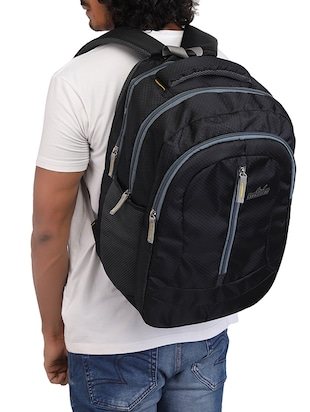 black cotton polyester blend regular backpack - 15625760 - Standard Image - 5
