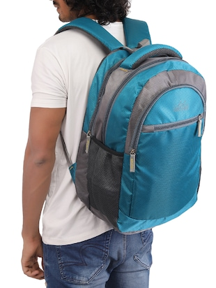 blue cotton polyester blend regular backpack - 15625764 - Standard Image - 5