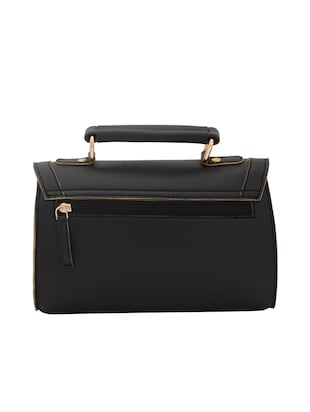 black leatherette (pu) regular sling bag - 15625794 - Standard Image - 2