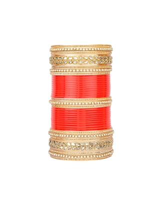 Red Gold Tone Stone Bangles - 15627470 - Standard Image - 2