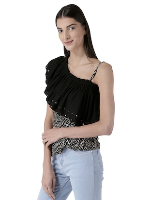 embellished ruffled detail top - 15627966 - Standard Image - 2