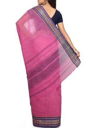 contrast border tant saree - 15637751 - Standard Image - 2