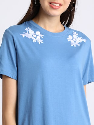 azure blue embroidered shift dress - 15637826 - Standard Image - 5