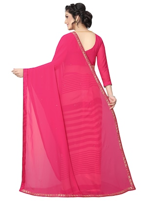 striped half and half saree with blouse - 15642648 - Standard Image - 2