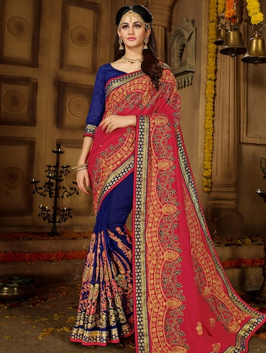 resham embroidered half & half saree with blouse - 15650451 - Standard Image - 1