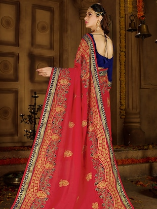 resham embroidered half & half saree with blouse - 15650451 - Standard Image - 2