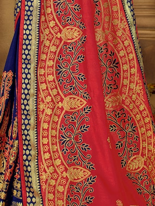 resham embroidered half & half saree with blouse - 15650451 - Standard Image - 5