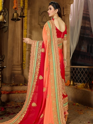 floral ombre embroidered saree with blouse - 15650454 - Standard Image - 2