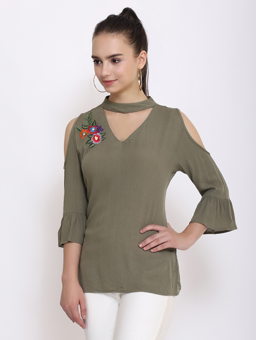 817cbb17d6728 Buy Embroidered Cold Shoulder Choker Top by Purys - Online shopping ...
