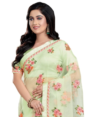 Buy Floral Embroidered Saree With Blouse By Patang Sarees Online