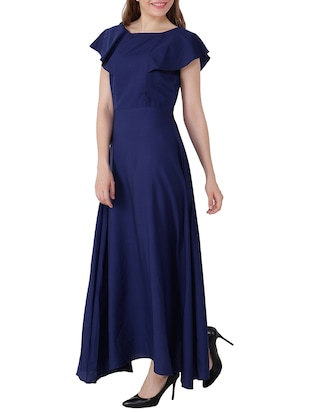 electric blue ruffle sleeved gown - 15661122 - Standard Image - 2