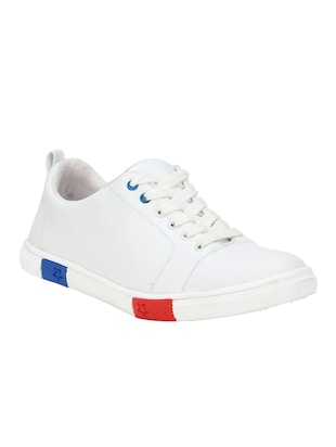 white leatherette lace up sneakers - 15679846 - Standard Image - 2