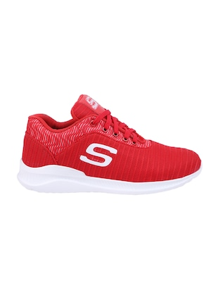 red Mesh lace up sport shoes - 15682065 - Standard Image - 2
