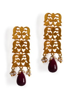 Gold Plated Silver Earring With Ruby Drop And Fresh Water Pearls - Posy Samriddh