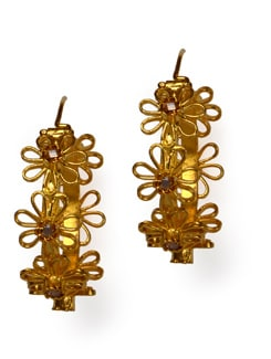 Gold Plated Hoops With Flower Design - Posy Samriddh