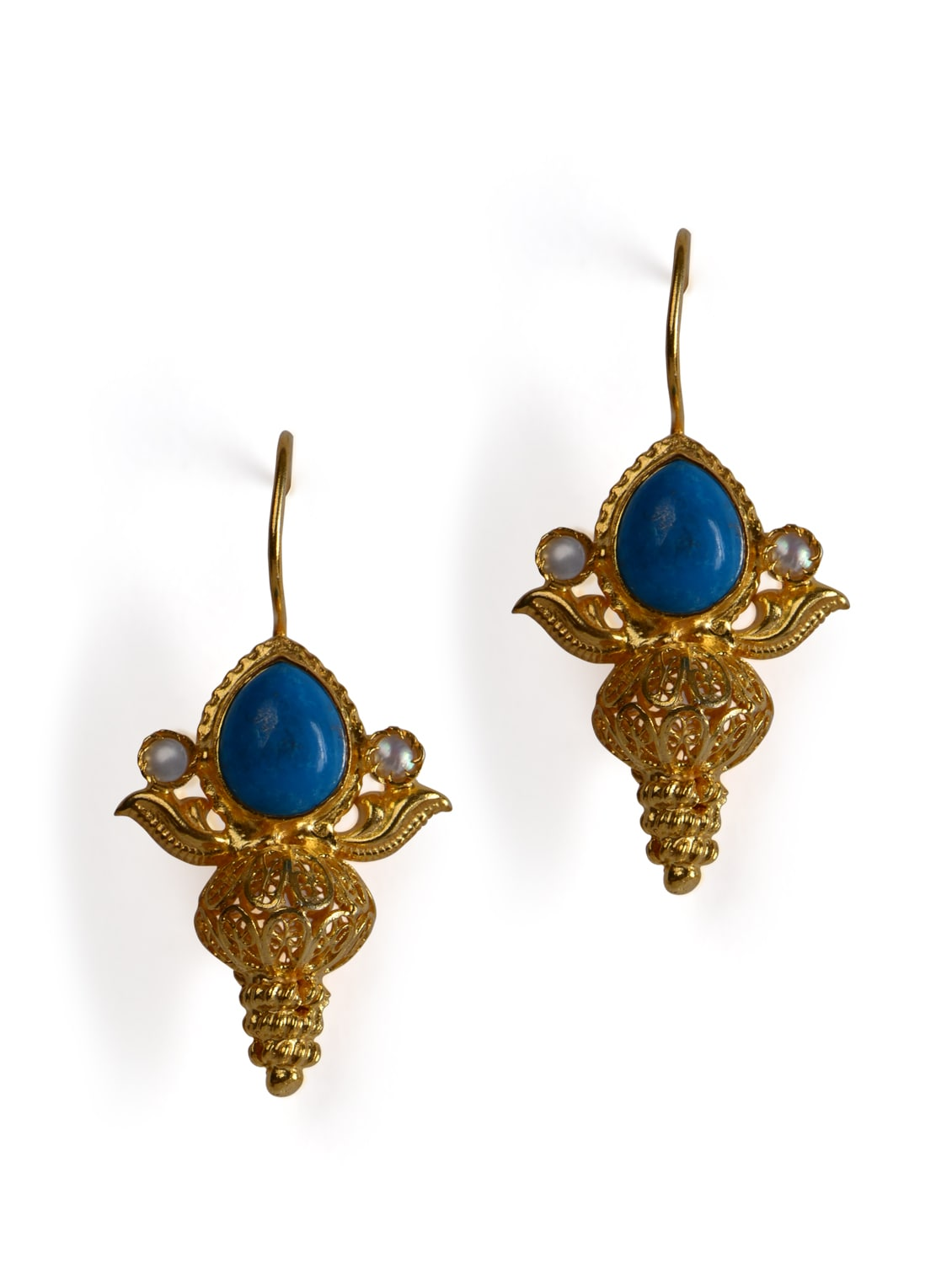 Gold Plated Danglers With Turquoise Blue Stone - Posy Samriddh