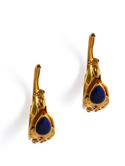 Gold Plated Silver Hoops With Lapis Lazuli Stone - Posy Samriddh